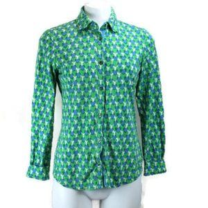 Boden Heart Pattern Long Sleeve Knit Button Shirt